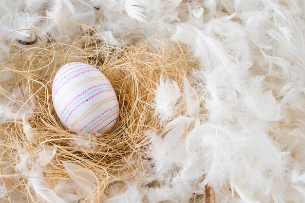 Easter egg on hay between heap of feathers