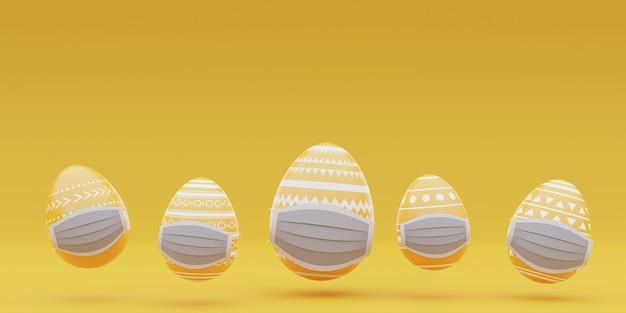 코로나 바이러스 pandemic.3d 렌더링 동안 의료 얼굴 마스크 .happy 부활절 개념에 부활절 달걀.