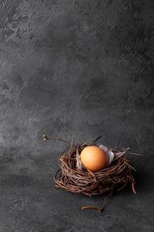Пасхальное яйцо в гнезде на черном фоне