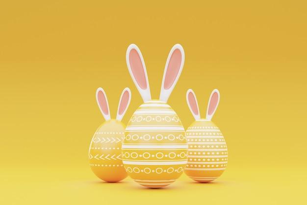 노란색 Background.happy 부활절 Concept.3d 렌더링에 토끼 귀와 부활절 달걀. 프리미엄 사진