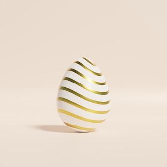 Пасхальное яйцо с рисунком золотых полос на бежевой стене, весенние апрельские праздники, 3d визуализация Premium Фотографии