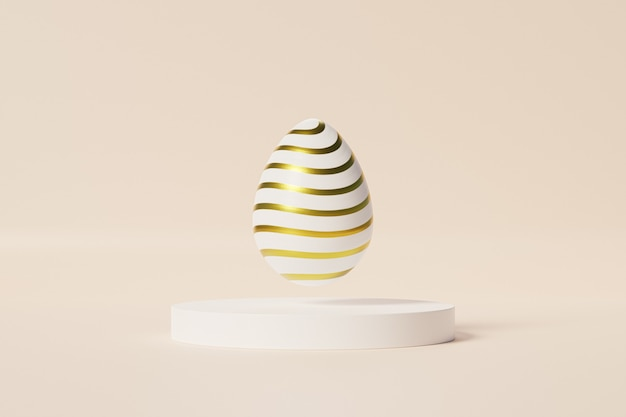Пасхальное яйцо с узором золотые полосы на белом подиуме, бежевая стена, весенняя апрельская праздничная открытка, 3d визуализация