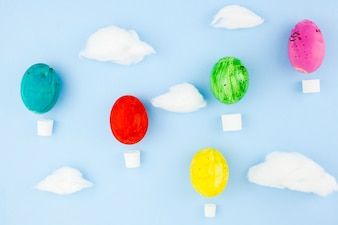 Easter eggs and cotton clouds