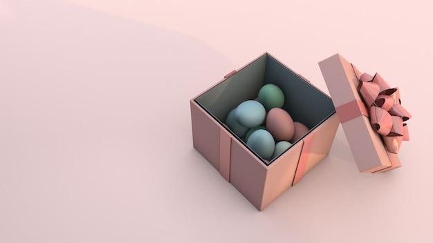 부활절 달걀과 분홍색 배경에 선물 상자입니다. 3d 렌더링