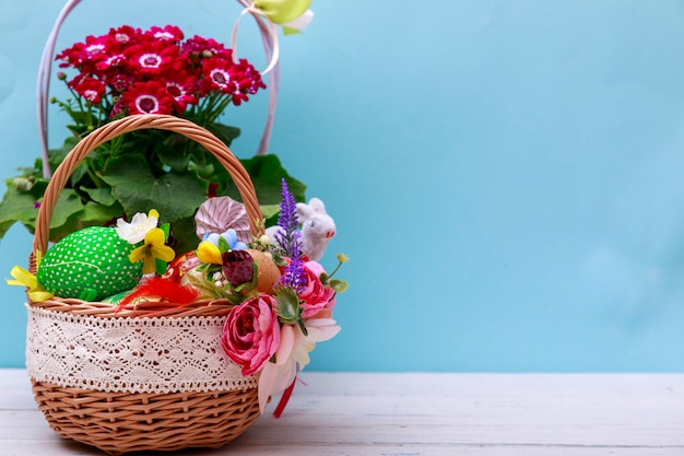 Easter eggs basket in a green grass garden. with copy space for your greetings