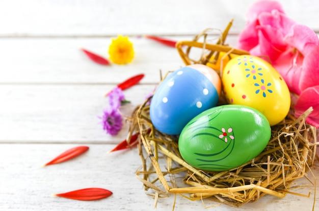 Easter eggs in basket nest flower on white background