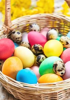 Easter eggs on basket
