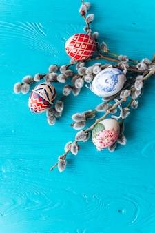 Easter eggs on blue blackground