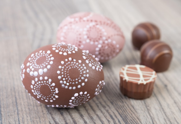 Easter eggs and chocolate truffle