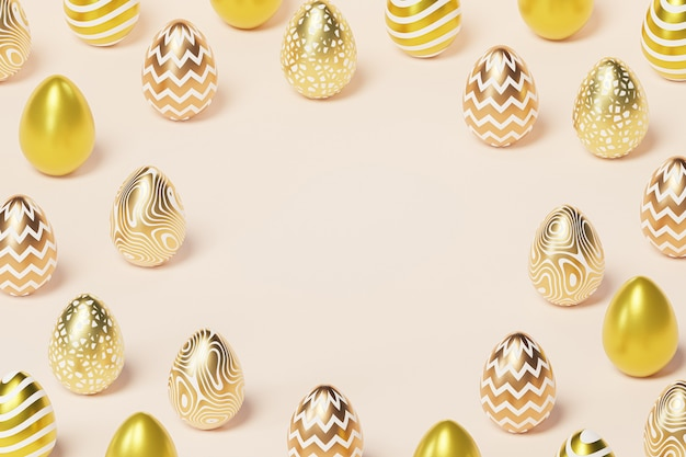 Easter eggs decorated with gold, beige background copy space