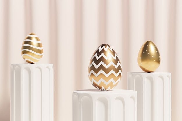 Easter eggs decorated with gold on beige podium