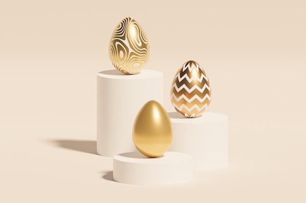 Пасхальные яйца, украшенные золотыми текстурами на подиумах