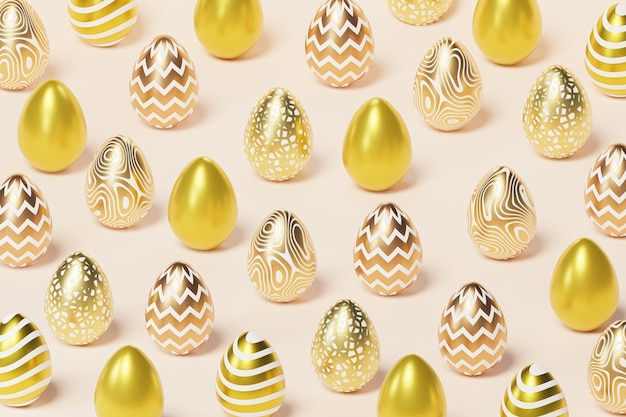 Easter eggs decorated with golden paint and patterns