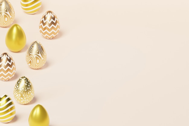 Easter eggs decorated with golden paint