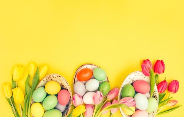 Easter eggs decoration colorful tulip flowers vintage