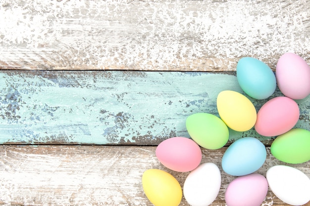Easter eggs decoration holidays background copy space