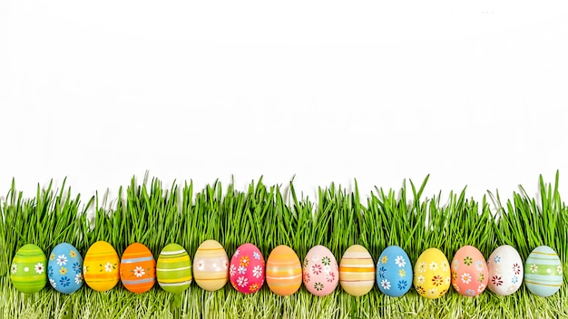 Easter eggs, easter background,  decoration, green grass, isolat