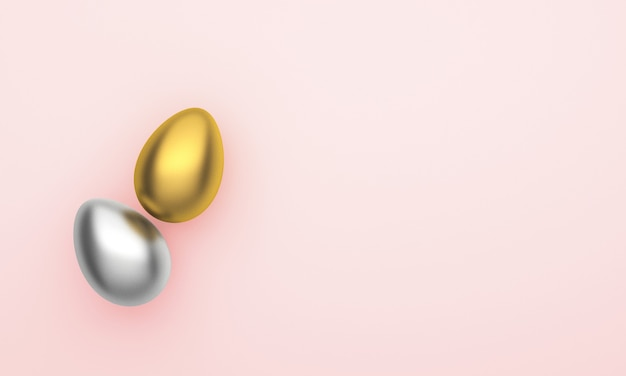 Easter eggs of gold and silver colors with on a pink background.