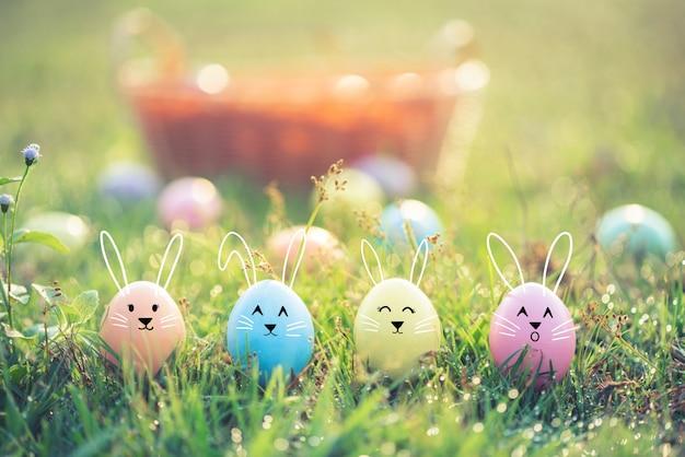 Easter eggs on green grass.