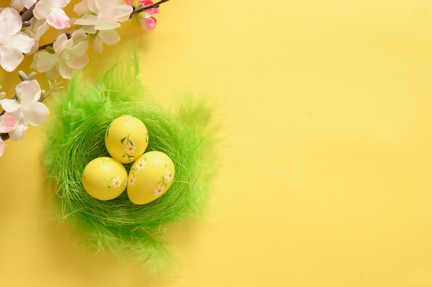 Easter eggs in green nest and blooming spring flowers on yellow.