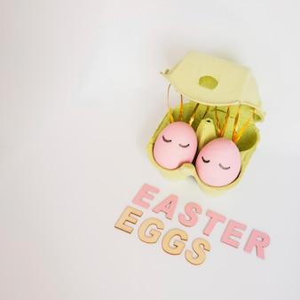 Easter eggs in green rack