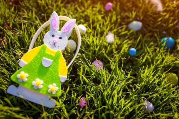 Easter eggs hidden in spring grass