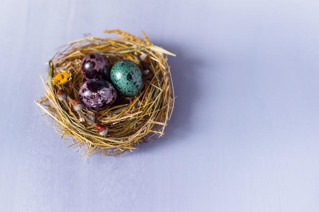 巣と青い壁に花模様のイースターエッグ。