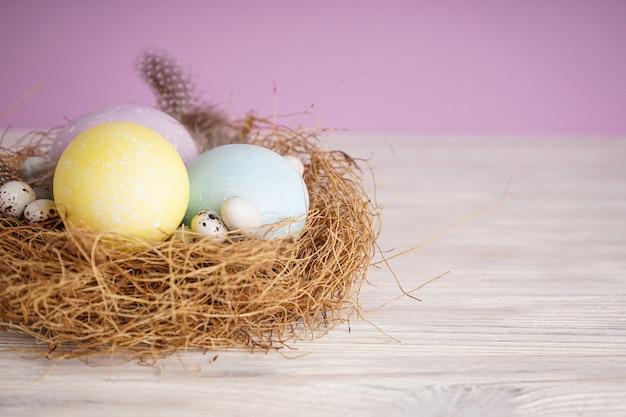 Пасхальные яйца в гнезде на деревянной поверхности, место для текста.