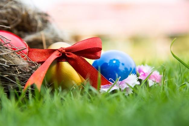 Пасхальные яйца в гнезде на зеленой траве