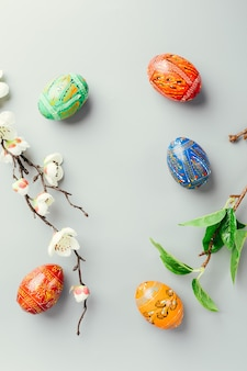 Easter eggs isolated on grey
