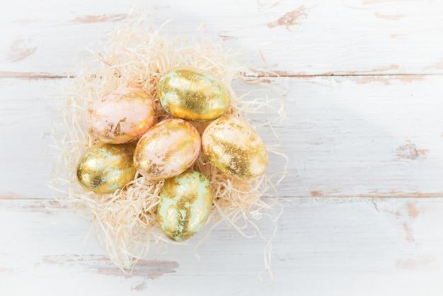 Easter eggs on light background