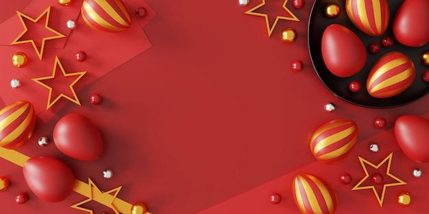 赤い背景、上面図のイースターエッグ。フラットレイ