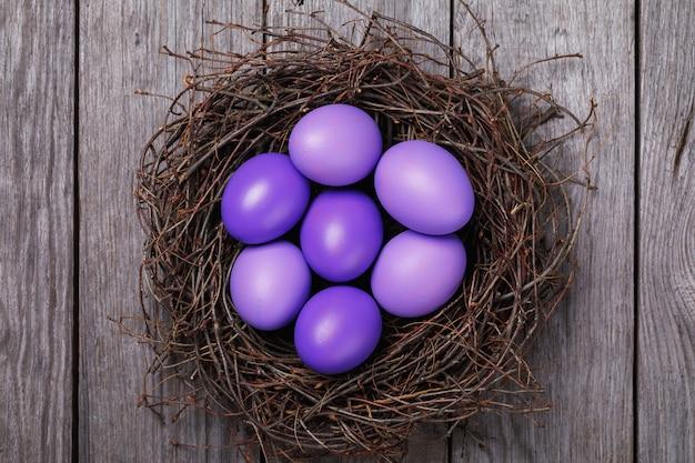 자작 나무 가지의 둥지에있는 나무 테이블에 보라색으로 칠해진 부활절 달걀