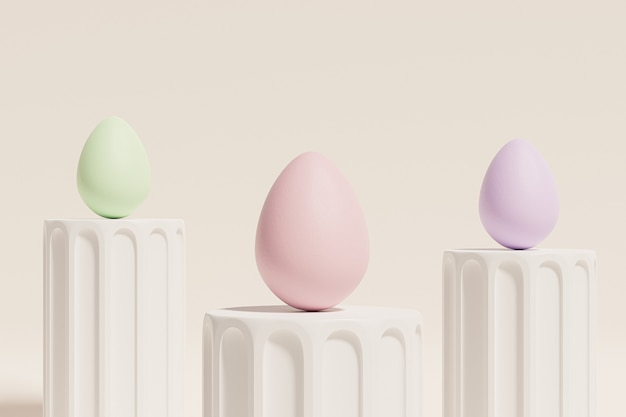 Easter eggs painted in pastel colors on beige pillar podiums