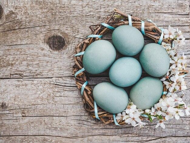 Пасхальные яйца расписаны красочными красками. вид сверху, людей нет, фактура.