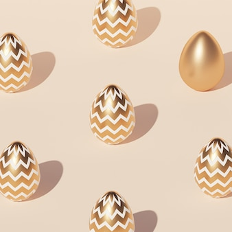 Easter eggs pattern decorated with gold, beige wall, spring april holidays , isometric 3d illustration render
