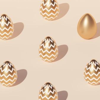 Шаблон пасхальных яиц, украшенный золотом, бежевая стена, весенние апрельские праздники, изометрическая 3d визуализация