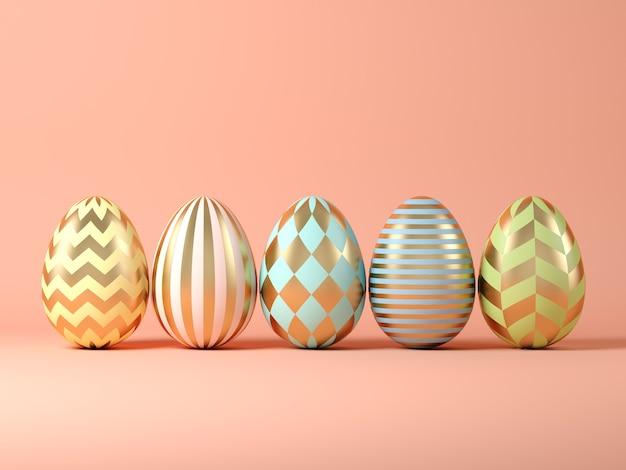 Easter eggs on pink background 3 d illustration