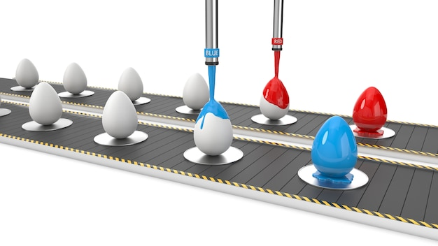 Easter eggs on production line. 3d illustration