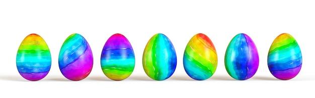 부활절 달걀 세트, 격리 컬렉션입니다. 3d 렌더링.