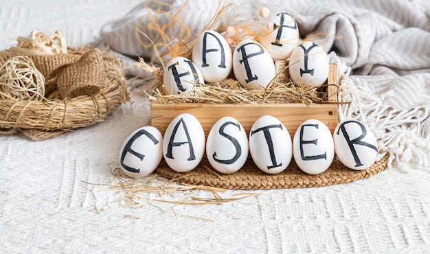 Easter eggs with the inscription happy easter