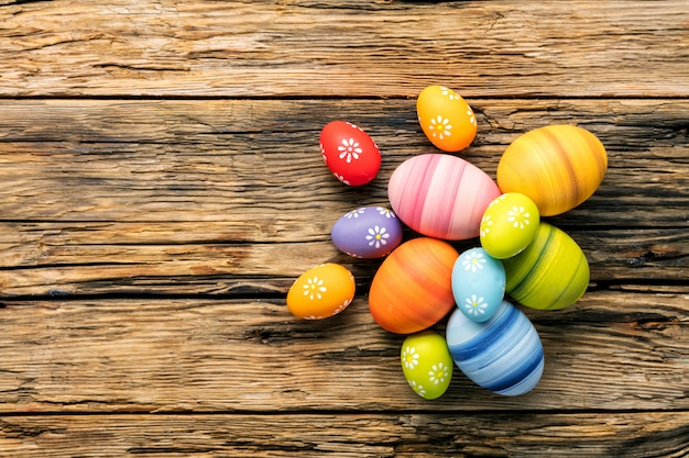Easter eggs on wooden