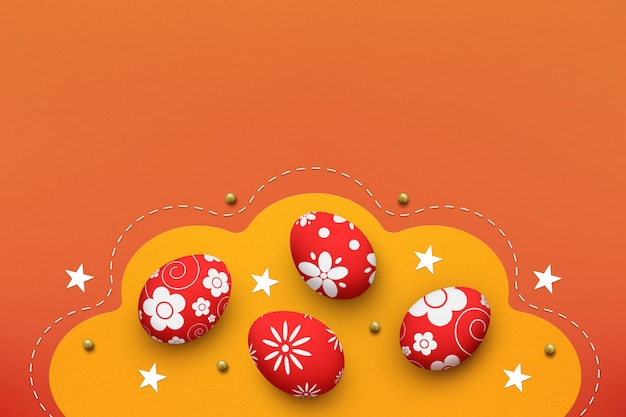 Easter eggs on yellow and orange background, top view