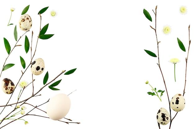 부활절 꽃 구성. 가지로 만든 패턴 및 leafs. 평면 위치, 최고보기.