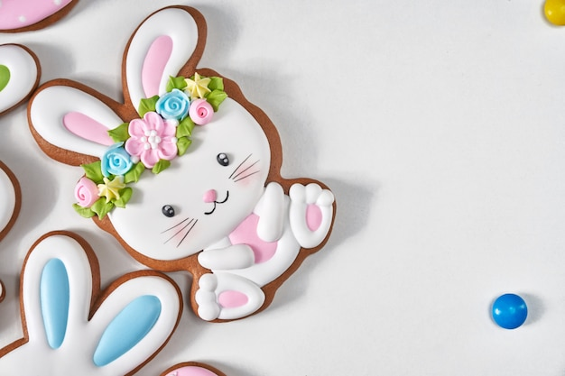 Easter ginger bunny cookies isolated on white.