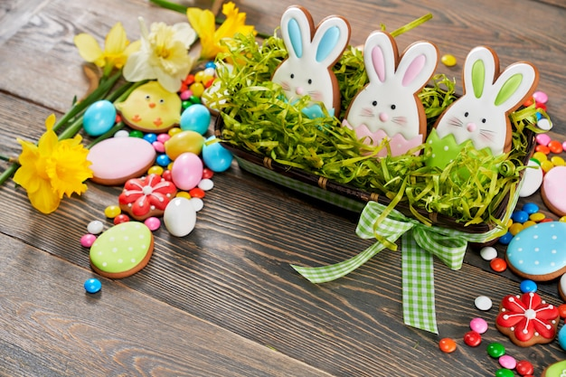 Easter ginger cookies in box with fake grass.