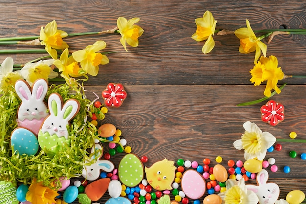 Easter ginger cookies, eggs and daffodils.