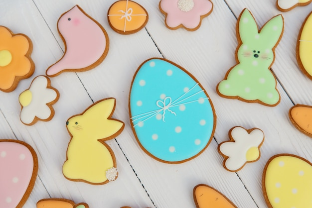 Easter gingerbread cookies. egg shaped cookies and easter bunny.