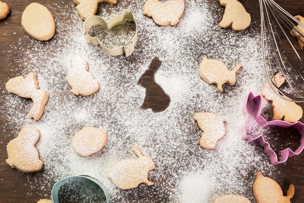 Easter gingerbread cookies. eggs and rabbits. top view