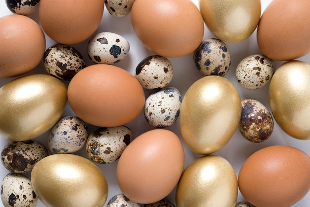 Easter golden, quail, chicken eggs. view from above. flat lay.